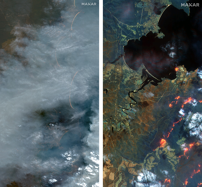 SWR satellite imagery of the town of Eden shows the wildfires through the smoke. (Satellite images ©2020 Maxar Technologies)