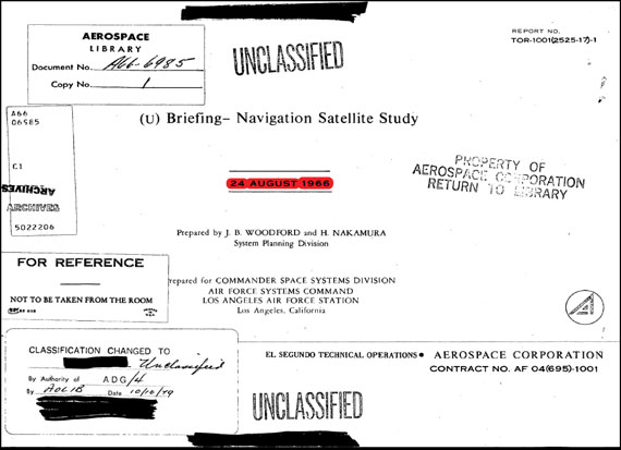 Figure 4. Front page of the seminal GPS system study performed from 1964 to 1966 by USAF 621B Program. Originally classified secret, it was not declassified until after the initial GPS satellite had been launched. This was the essential foundation to the GPS System design. (Credit: Bradford W. Parkinson and Stephen T. Powers)