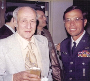 Dr. Richard Kershner, who led the development of Transit. On his left, young Col. Bradford Parkinson, who led the development of GPS. (Credit: Bradford W. Parkinson and Stephen T. Powers)