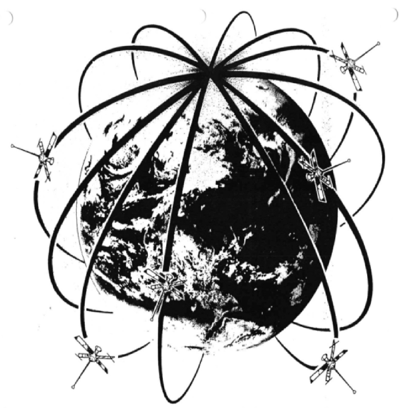Figure 2. The Transit birdcage of operational orbits. (Credit: Bradford W. Parkinson and Stephen T. Powers)