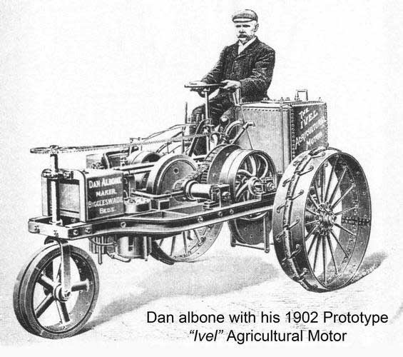 Dan Albone on his prototype Ivel Agricultural motor. (Photo: North Bedfordshire Gazette, 1903)