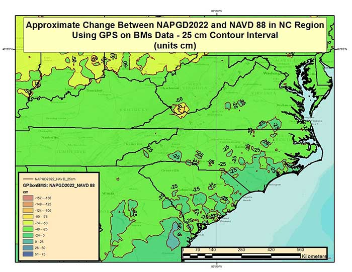 Figure 3 – Approximate Change Between NAPGD2022 and NAVD 88 in North Carolina and Surrounding States Using GPS on BMs Data (units = cm). (Image: National Geodetic Survey)