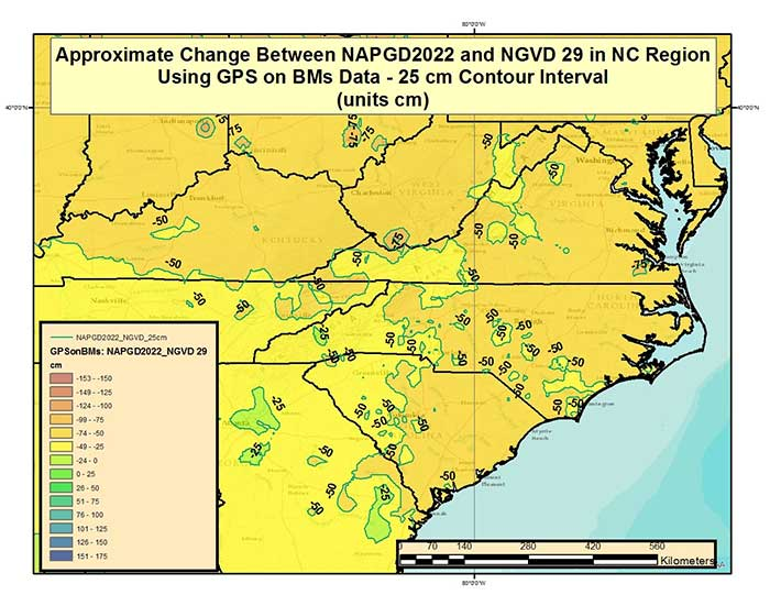 Figure 4 – Approximate Change Between NAPGD2022 and NGVD 29 in North Carolina and Surrounding States Using GPS on BMs Data (units = cm). (Image: National Geodetic Survey)