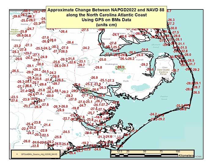 Figure 5 – Approximate Change Between NAPGD2022 and NAVD 88 along North Carolina Atlantic Coast Using GPS on BMs Data (units = cm). (Image: National Geodetic Survey)