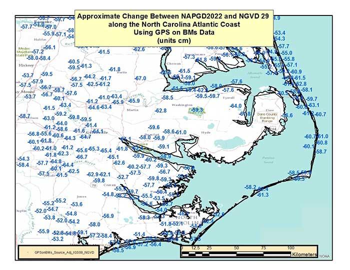 Figure 6 – Approximate Change Between NAPGD2022 and NAVD 29 along North Carolina Atlantic Coast Using GPS on BMs Data (units = cm). (Image: National Geodetic Survey)