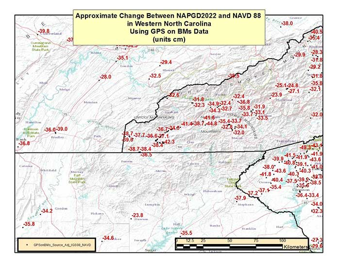 Figure 7 – Approximate Change Between NAPGD2022 and NAVD 88 in the Western North Carolina Using GPS on BMs Data (units = cm). (Image: National Geodetic Survey)