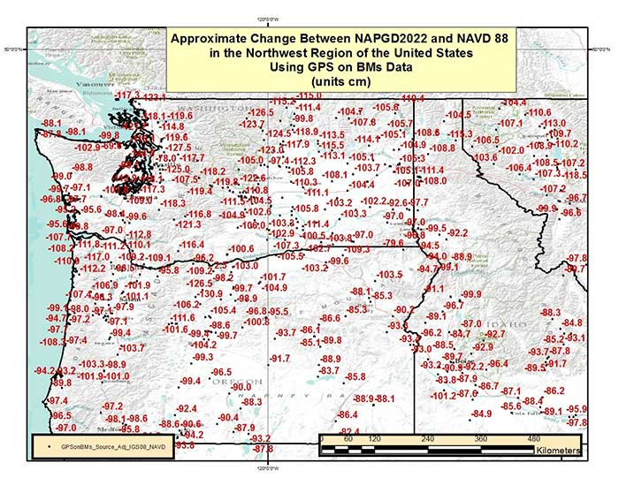 Figure 8 – Approximate Change Between NAPGD2022 and NAVD 88 in the Northwest Region of the United States Using GPS on BMs Data (units = cm). (Image: National Geodetic Survey)