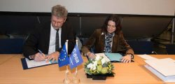 ESA Director of Navigation Paul Verhoef signs the EGNOS V3 contract Jan. 26 with Senior Vice President of Airbus Defence and Space, Mathilde Royer Germain. (Photo: ESA)