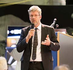 Paul Verhoef, director of the Galileo Programme addresses the audience at ESA's annual Navigation Days, held Jan. 26. (Photo: ESA)