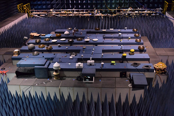 GPS/GNSS receivers in White Sands Missile Range anechoic chamber. (Photo: DOT ABC Assessment)