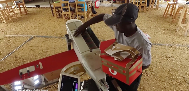 In Rwanda, fresh blood is launched to a hospital using a Zipline drone. (Screenshot: CNN video)