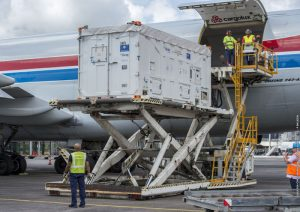 Arrival at the Felix Eboué airport on April 5, 2018. (Photo: ESA)