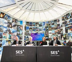 From left: Ruy Pinto, chief information officer, deputy chief technology officer of SES; André Bauerhin, COO, Spaceopal; Nicole Robinson, SVP Global Government at SES Networks; Etienne Schneider, Luxembourg Deputy Prime Minister, Minister of the Economy. (Photo: SES)