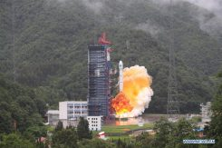 China sends the 33rd and 34th BeiDou satellites into space on July 29. (Xinhua/Liang Keyan)