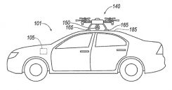 A UAV docks with a car. (Diagram: Ford's patent application)