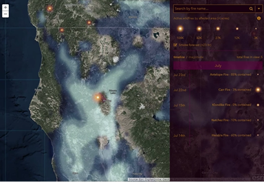 The NWS animated smoke risk forecast is now integrated into Esri's Story Map app. (Screenshot: Esri)