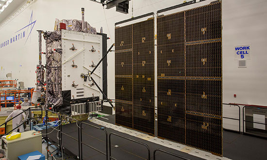 In July 2017, Lockheed Martin tested the deployment of the solar arrays for the U.S. Air Force's second GPS III space vehicle (GPS III SV02). (Photo: Lockheed Martin)