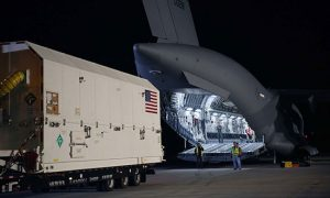 GPS III SV01 on Aug. 20 boards a U.S. Air Force C-17 for its flight to Cape Canaveral, Florida. (Photo: Lockheed Martin)
