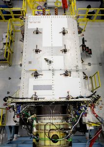 In May 2017, the U.S. Air Force's second GPS III satellite was fully assembled and entered into Space Vehicle (SV) single line flow when Lockheed Martin technicians successfully integrated its system module, propulsion core and antenna deck. (Photo: Lockheed Martin)