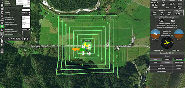 An expanding search pattern for a UAV on the UgCS platform. (Image: Airborne Response)