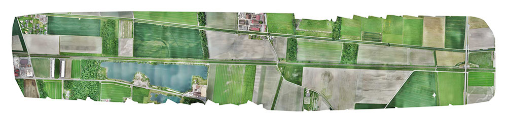 Final orthomosaic generated by the images collected by the WingtraOne: the 3-km long Eurotube will be constructed along the indicated area. (Image: Wingtra)