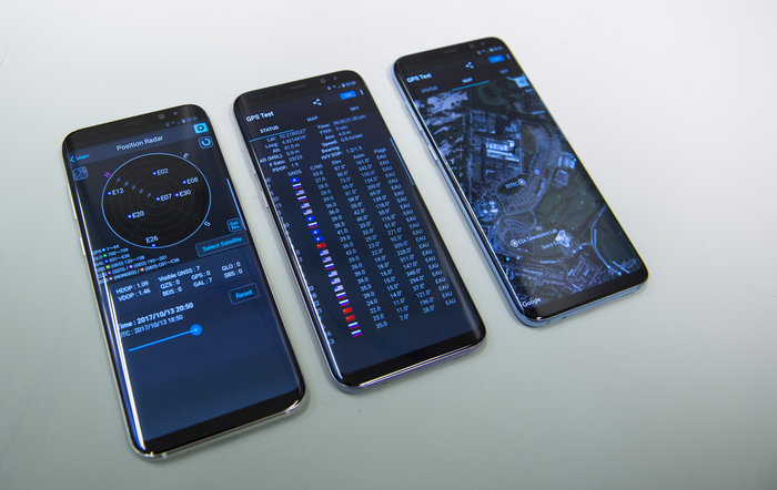 Europe's Galileo satellite navigation system seen at work with commercially available Samsung S8+ smartphones. (Photo: ESA)