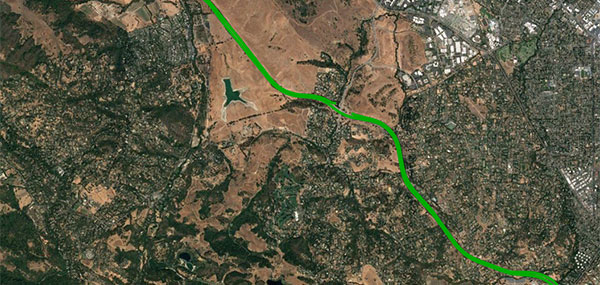 An open-sky freeway environment on Interstate 280 in California where Starling + the BCM47755 were tested and data collected and processed in real time. (Image: Swift Navigation)