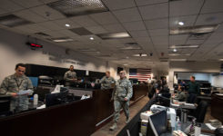 The 2nd Space Operations Squadron operations floor is a flurry of activity during 2nd SOPS's formal command of Architecture Evolution Plan 7.5. (Photo: USAF/Senior Airman William Tracy)