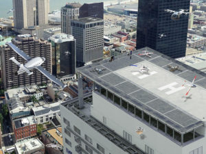 Future city airspace filled with drones and passenger aircraft. (Image: NASA)