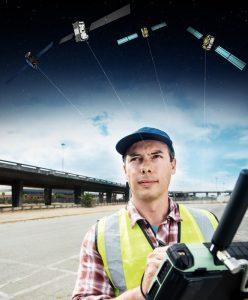 A Surveyor uses a GNSS device to map urban assets with Galileo and EGNOS. (Image: ESA)