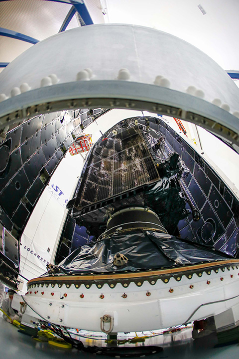 GPS III SV01 is now encapsulated and awaiting launch scheduled for Dec. 18. (Photo: Lockheed Martin)