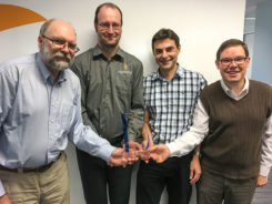 The Septentrio team poses with the Products Leadership Award. (Photo: Septentrio)
