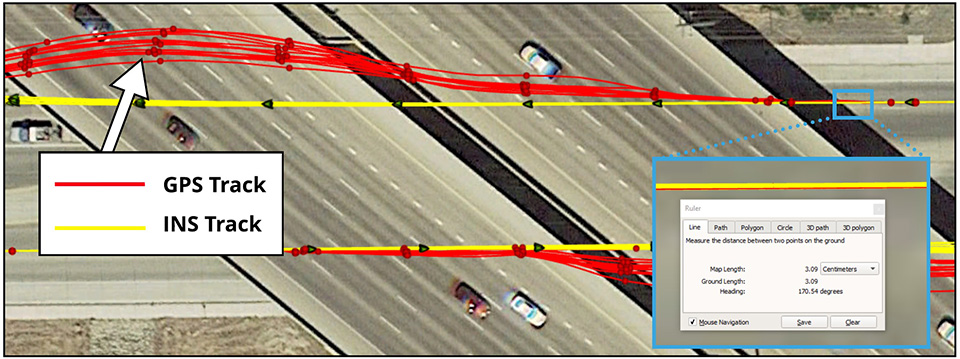 In the image above, a vehicle travels under an overpass. The 3-cm accurate RTK-inertial navigation track holds true to the vehicle's position while the standard GPS signal is lost. (Image: Inertial Sense)