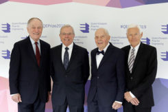 From left: 2019 QEPrize winners Richard Schwartz, Bradford Parkinson, James Spilker and Hugo Fruehauf. (Photo: QEPrize)