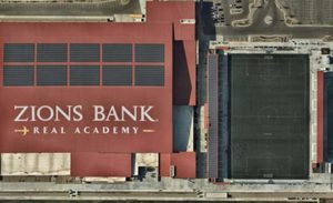 Check out a Nearmap high-resolution aerial image of Zions Bank Stadium/Real Academy. The solar was installed by Auric Solar. (Photo: Nearmap)