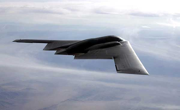B-2 Spirit multi-role bomber capable of delivering both conventional and nuclear munitions. In December 2017, the Air Force completed a series of successful flight tests of M-code GPS using a Raytheon Company receiver on board a B-2 Spirit at Edwards Air Force Base, California. (Photo: U.S. Air Force/Bobby Garcia)
