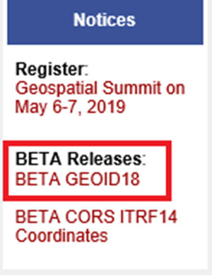 Notice announcing beta version of Geoid18 on NGS homepage. (Screenshot: NGS)
