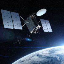 GPS IIIF's M-Code can be broadcast from a high-gain directional antenna in a concentrated, high-powered spot beam, in addition to a wide-angle, full-Earth antenna. (Artist rendering: Lockheed Martin)