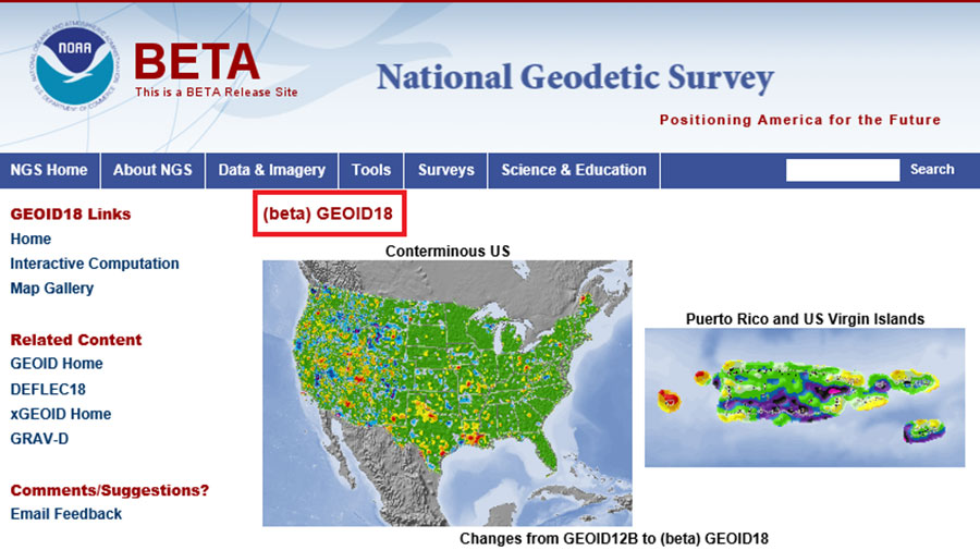 Excerpt from beta Geoid18 website. (Screenshot: NGS)
