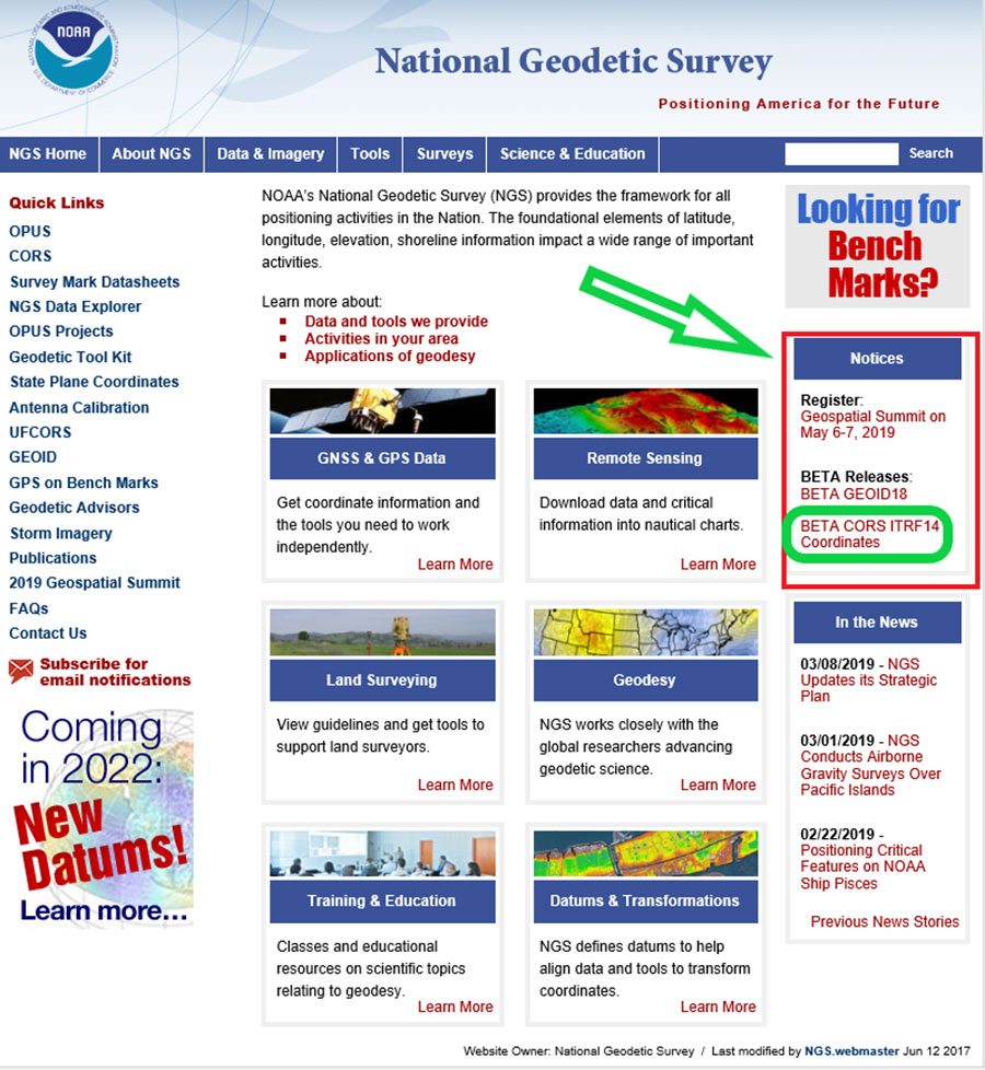National Geodetic Survey homepage. (Screenshot: NGS)