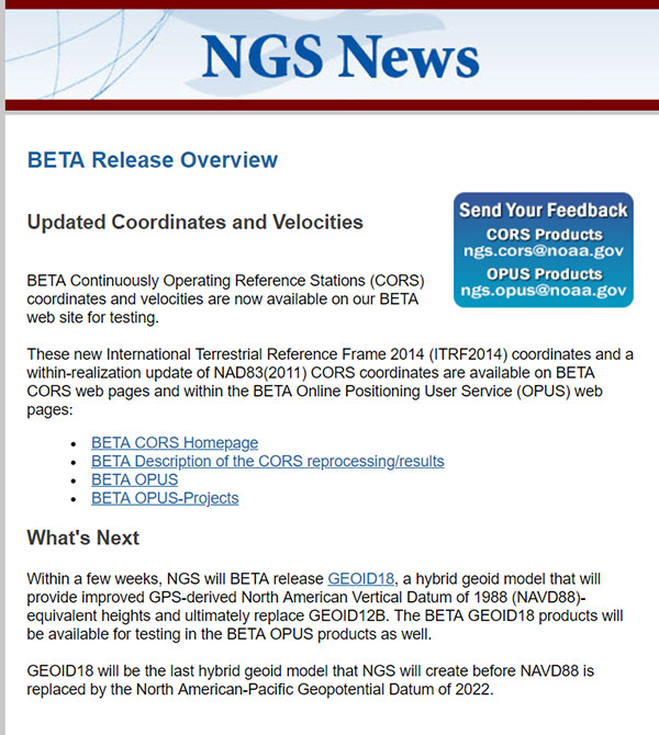 "Excerpt from Feb. 15, 2019, ""NOTICE: New BETA Coordinates Available for CORS and OPUS"". (Screenshot: NGS)"