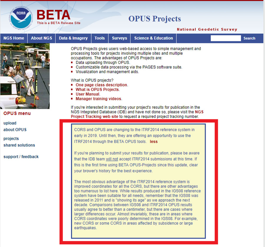 Beta OPUS Projects webpage. (Screenshot: NGS)