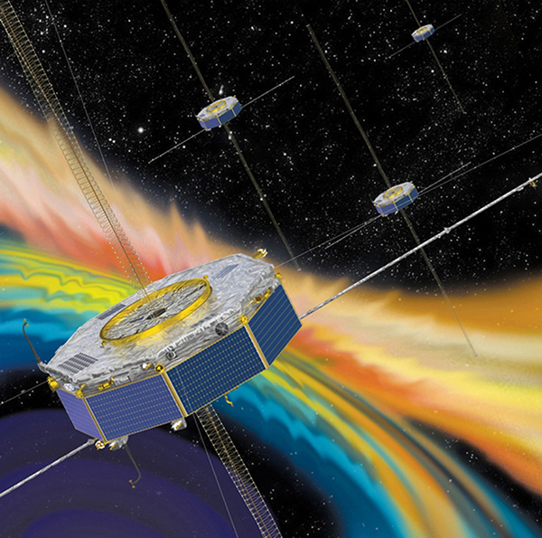 Illustration of the four MMS spacecraft in orbit in Earth's magnetic field. (Image: NASA).