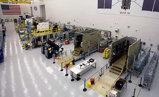 GPS III production line. (Photo: Lockheed Martin)