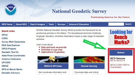 Figure 1. National Geodetic Survey's Home Web Page. (Screenshot: National Geodetic Survey)