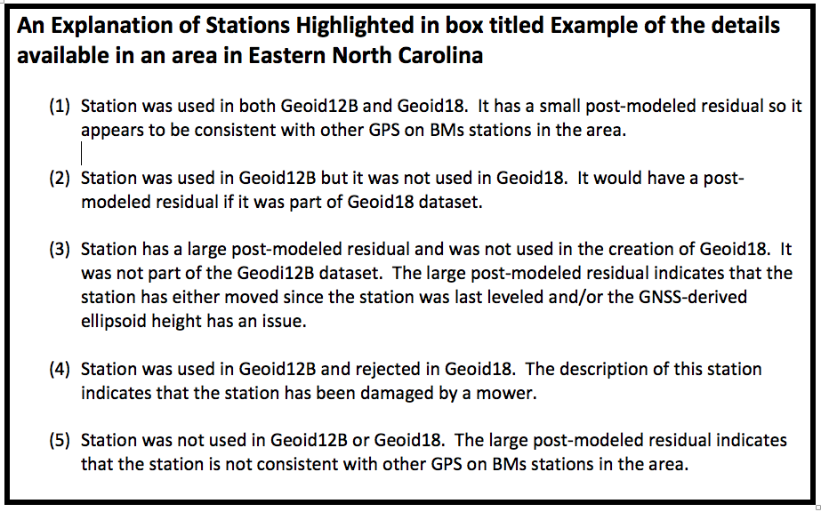 An Explanation of Stations Highlighted in box titled Example of the details available in an area in Eastern North Carolina