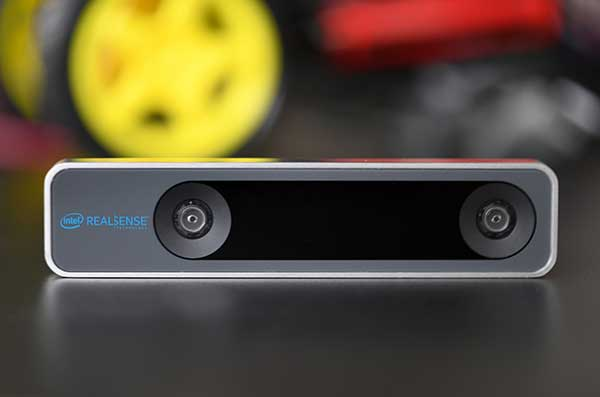 The RealSense camera uses two fisheye lenses and an IMU to construct location awareness. (Photo: Intel)
