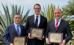 With their new Fellowship plaques are (from left) Gao, Humphreys and Rodríguez. (Photo: ION)