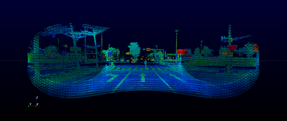 Horizon point cloud sample of crossroads with a pedestrian crossing the street. (Image: Livox)