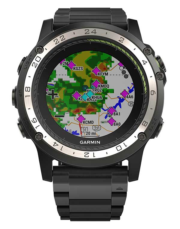 Weather radar overlay feature within Garmin D2 Charlie. (Photo: Garmin)